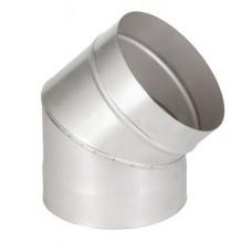 Дымоходы одноконтурные из нержавеющей стали колено 45° ø140 толщина 1 мм